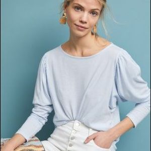 Anthropologie t.la Sky Blue Long Puff Sleeve Shirt